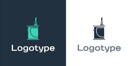 Logotype Electronic cigarette icon isolated on white background. Vape smoking tool. Vaporizer Device. Logo design template element. Vector Illustration