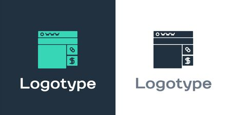 Logotype Buying drugs online icon isolated on white background. Online buying symbol. Logo design template element. Vector Illustration