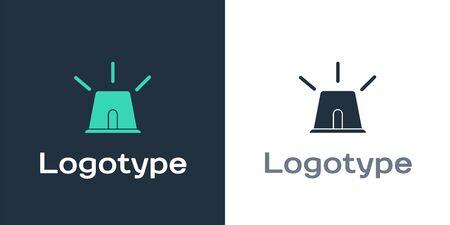 Logotype Flasher siren icon isolated on white background. Emergency flashing siren. Logo design template element. Vector Illustration