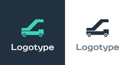 Logotype Passenger ladder for plane boarding icon isolated on white background. Airport stair travel. Logo design template element. Vector Illustration