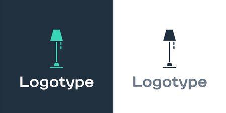 Logotype Floor lamp icon isolated on white background. Logo design template element. Vector Illustration