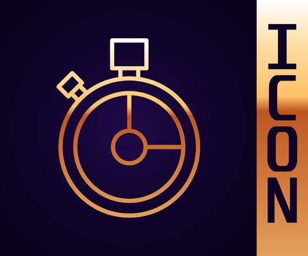 Gold line Fast time delivery icon isolated on black background. Timely service, stopwatch in motion, deadline concept, clock speed. Vector Illustration