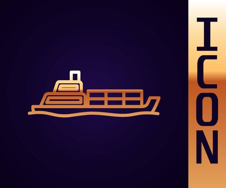 Gold line Oil tanker ship icon isolated on black background. Vector Illustration Illustration