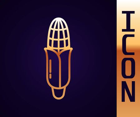 Gold line Corn icon isolated on black background. Vector Illustration