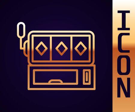 Gold line Slot machine icon isolated on black background. Vector Illustration Illustration