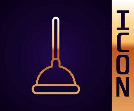 Gold line Rubber plunger with wooden handle for pipe cleaning icon isolated on black background. Toilet plunger. Vector Illustration