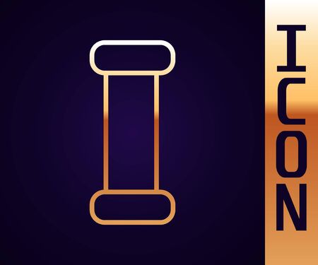 Gold line Industry metallic pipe icon isolated on black background. Plumbing pipeline parts of different shapes. Vector Illustration