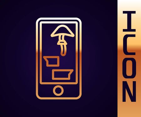 Gold line Buying drugs online on mobile phone icon isolated on black background. Online buying symbol. Vector Illustration