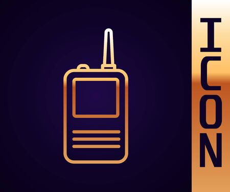 Gold line Walkie talkie icon isolated on black background. Portable radio transmitter icon. Radio transceiver sign. Vector Illustration