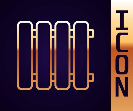 Gold line Heating radiator icon isolated on black background. Vector Illustration
