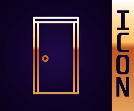 Gold line Closed door icon isolated on black background. Vector Illustration