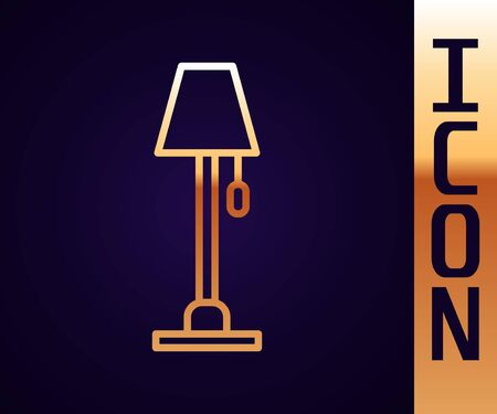 Gold line Floor lamp icon isolated on black background. Vector Illustration