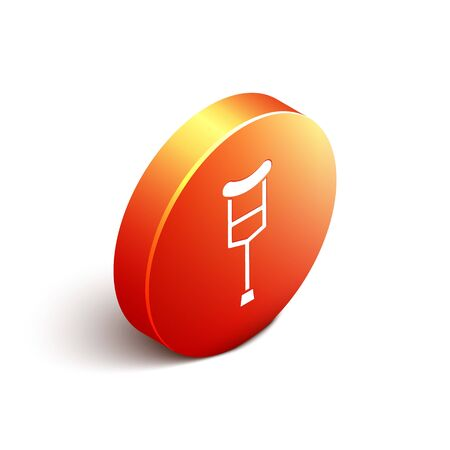 Isometric Crutch or crutches icon isolated on white background. Equipment for rehabilitation of people with diseases of musculoskeletal system. Orange circle button. Vector Illustration