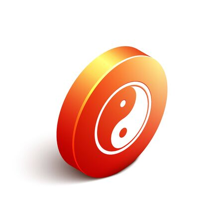 Isometric Yin Yang symbol of harmony and balance icon isolated on white background. Orange circle button. Vector Illustration