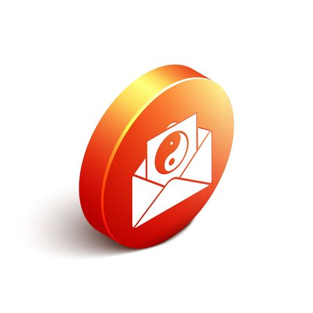 Isometric Yin Yang and envelope icon isolated on white background. Symbol of harmony and balance. Orange circle button. Vector Illustration