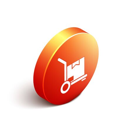 Isometric Hand truck and boxes icon isolated on white background. Dolly symbol. Orange circle button. Vector Illustration