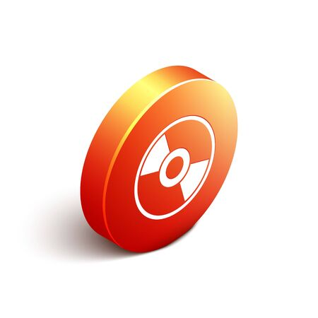 Isometric CD or DVD disk icon isolated on white background. Compact disc sign. Orange circle button. Vector Illustration