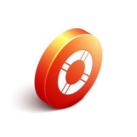 Isometric Lifebuoy icon isolated on white background. Life saving floating lifebuoy for beach, rescue belt for saving people. Orange circle button. Vector Illustration