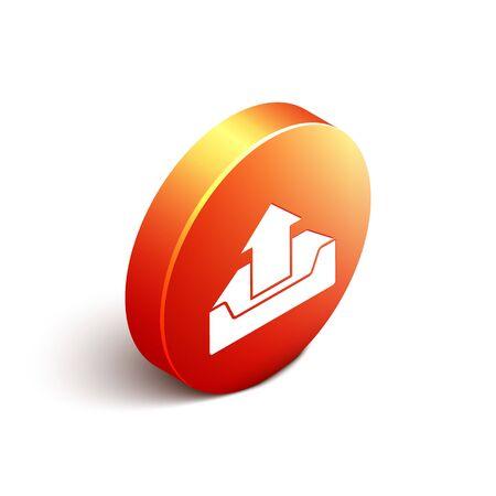 Isometric Upload inbox icon isolated on white background. Orange circle button. Vector Illustration