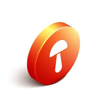 Isometric Psilocybin mushroom icon isolated on white background. Psychedelic hallucination. Orange circle button. Vector Illustration