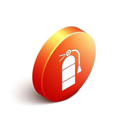 Isometric Fire extinguisher icon isolated on white background. Orange circle button. Vector Illustration