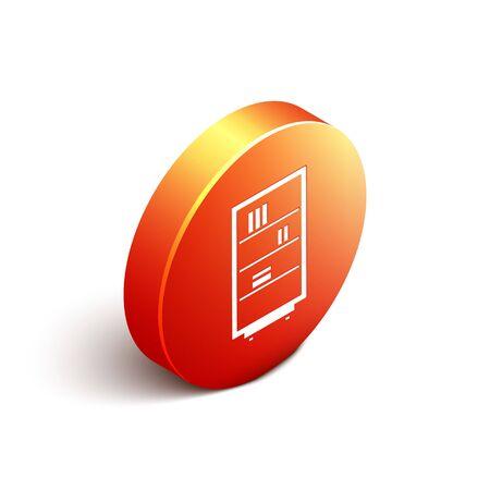 Isometric Library bookshelf icon isolated on white background. Orange circle button. Vector Illustration Vectores