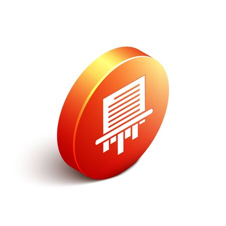 Isometric Paper shredder confidential and private document office information protection icon isolated on white background. Orange circle button. Vector Illustration Illustration