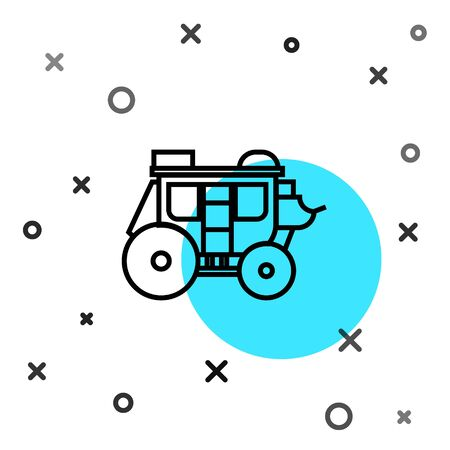 Black line Western stagecoach icon isolated on white background. Random dynamic shapes. Vector Illustration