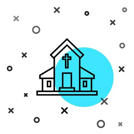 Black line Church building icon isolated on white background. Christian Church. Religion of church. Random dynamic shapes. Vector Illustration
