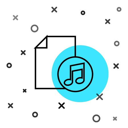 Black line Music book with note icon isolated on white background. Music sheet with note stave. Notebook for musical notes. Random dynamic shapes. Vector Illustration  イラスト・ベクター素材