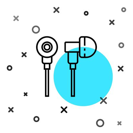 Black line Air headphones icon icon isolated on white background. Holder wireless in case earphones garniture electronic gadget. Random dynamic shapes. Vector Illustration Çizim