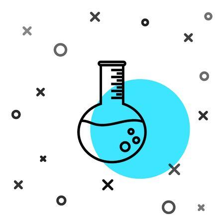 Black line Oil petrol test tube icon isolated on white background. Random dynamic shapes. Vector Illustration