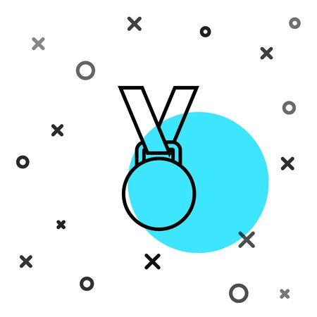 Black line Medal icon isolated on white background. Winner symbol. Random dynamic shapes. Vector Illustration Vectores