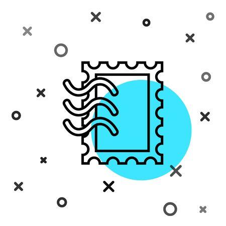 Black line Postal stamp icon isolated on white background. Random dynamic shapes. Vector Illustration