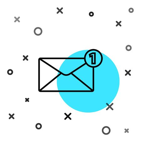 Black line Envelope icon isolated on white background. Received message concept. New, email incoming message, sms. Mail delivery service. Random dynamic shapes. Vector Illustration