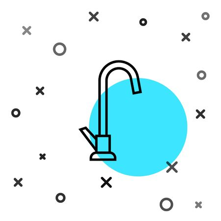 Black line Water tap icon isolated on white background. Random dynamic shapes. Vector Illustration Illustration