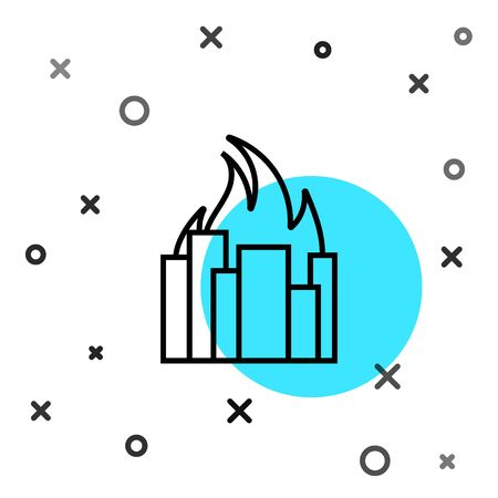 Black line Fire in burning buildings on city street icon isolated on white background. Destroyed city on fire. Random dynamic shapes. Vector Illustration