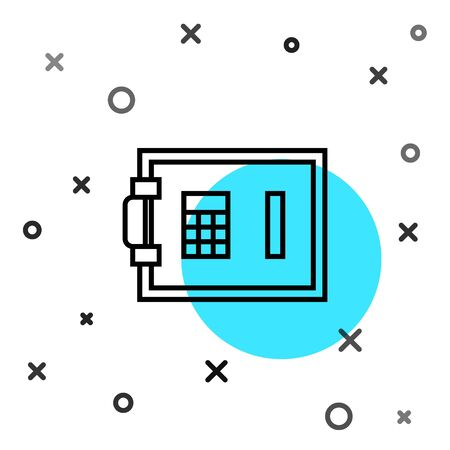 Black line Safe icon isolated on white background. The door safe a bank vault with a combination lock. Reliable Data Protection. Random dynamic shapes. Vector Illustration