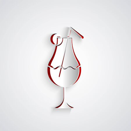 Paper cut Cocktail and alcohol drink icon isolated on grey background. Paper art style. Vector Illustration