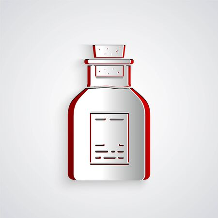 Paper cut Oil petrol test tube icon isolated on grey background. Paper art style. Vector Illustration Ilustrace
