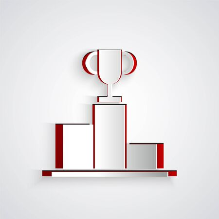 Paper cut Hockey over sports winner podium icon isolated on grey background. Paper art style. Vector Illustration