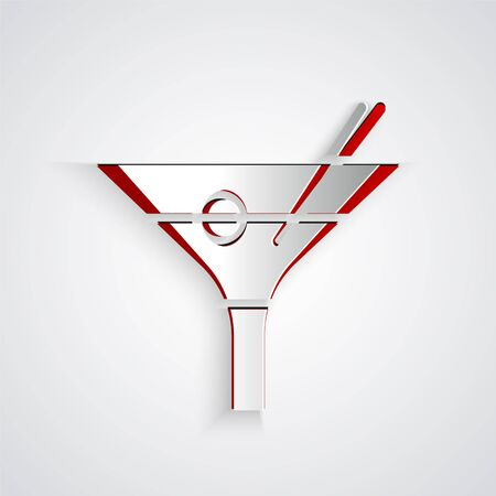 Paper cut Martini glass icon isolated on grey background. Cocktail icon. Wine glass icon. Paper art style. Vector Illustration 向量圖像