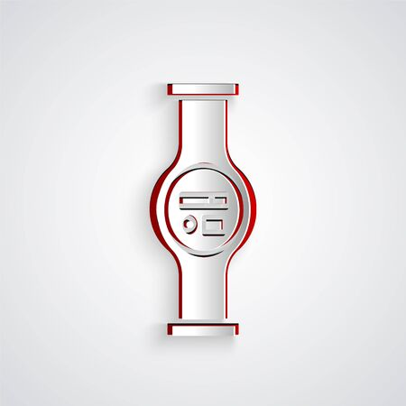 Paper cut Water meter with pipeline icon isolated on grey background. Paper art style. Vector Illustration Ilustração