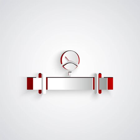 Paper cut Industry metallic pipe and manometer icon isolated on grey background. Paper art style. Vector Illustration