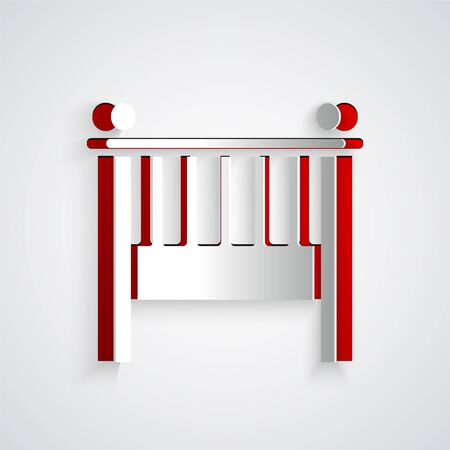 Paper cut Baby crib cradle bed icon isolated on grey background. Paper art style. Vector Illustration