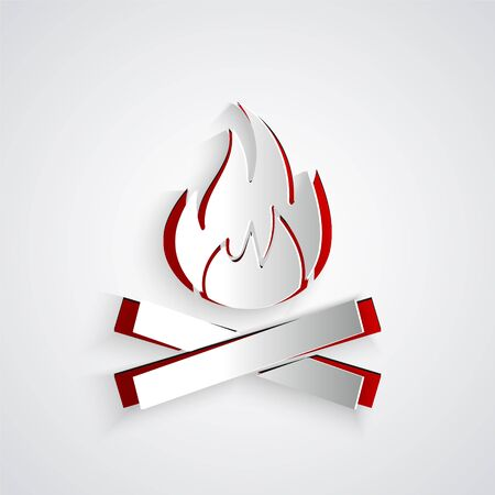 Paper cut Campfire icon isolated on grey background. Burning bonfire with wood. Paper art style. Vector Illustration