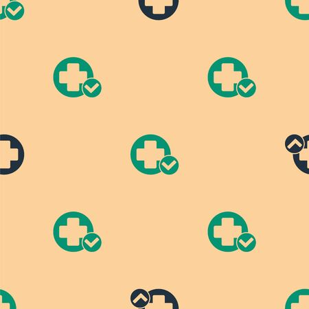 Green and black Cross hospital medical icon isolated seamless pattern on beige background. First aid. Diagnostics symbol. Medicine and pharmacy sign. Vector Illustration