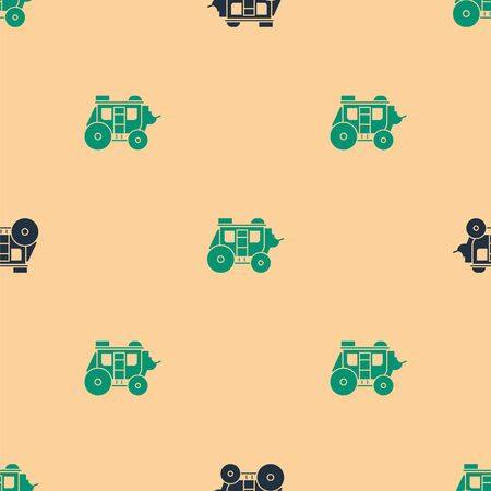 Green and black Western stagecoach icon isolated seamless pattern on beige background. Vector Illustration