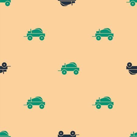 Green and black Wild west covered wagon icon isolated seamless pattern on beige background. Vector Illustration