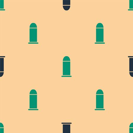 Green and black Bullet icon isolated seamless pattern on beige background. Vector Illustration